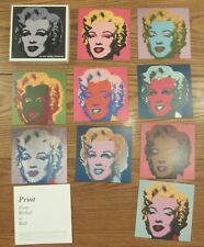 """Andy Warhol Marilyn Monroe box set of 9 cards different colors 7x7"""""""