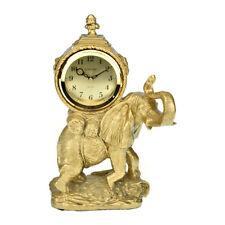 Large Gold Mantel Clock Elephant Big Home Office Decor Watch Gift Vintage