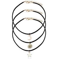 3in1 set Woman Collar Bib Necklace Black velvet Charm Gifts Choker Jewelry