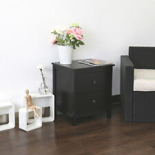 Wooden End Side Bedside Table Nightstand Bedroom Decor w/ Drawer Black