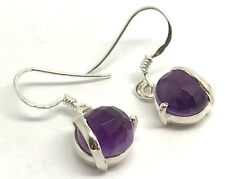 Amethyst faceted Round Drop Earrings, solid Sterling Silver, New, UK seller.