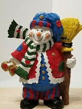 """Adorable Vintage Snowman Clown Figurine Resin 7.5"""" Very Colorful"""