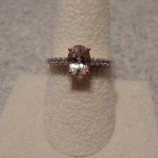 Size 9 Genuine Morganite & White Zircon 10K Rose Gold Ring ATGW 1.29cts