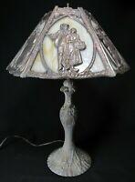 ANTIQUE LEAD LAMP Slag Glass SIX PANEL rare lead overlay medium body