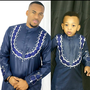 African Clothing Soft Material Embroidery Top-Pants For Baby Boy V21608