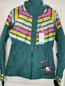 Roxy Jet Ski Premium Jacket; Size-M; Color-Green/Multicolor