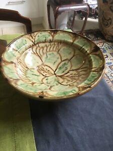 Antique Vintage Glazed Terracotta Slipware Bowl 29 Cm Diameter
