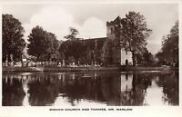 1920's VINTAGE REAL PHOTO POSTCARD - BISHAM CHURCH & THAMES RIVER near MARLOW PC