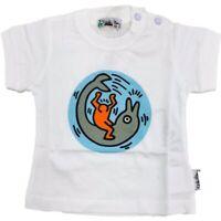 T-Shirt in Cotone Bianco con Stampa Neonato Sarabanda E526