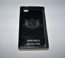JUICY COUTURE - iphone 4 Cell Case-Black Sparkle Designer Crest Logo-Plastic