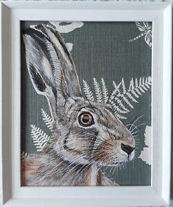 Original wildlife hare rabbit animal picture painting vanessa Arbuthnott fabric
