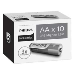 10 Piles Alcalines AA / LR6 Philips Industrial