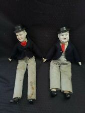 Laurel and Hardy Comedy Team Dolls Porcelain Vintage Entertainment Hollywood