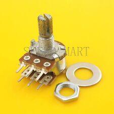 B50K Ohm Dual Linear Rotary Potentiometer Pot 15mm Shaft 6 Pins