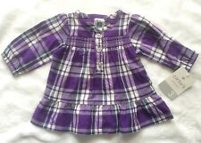 3M Baby Girls Top Shirt Carters Purple White Navy Plaid Ruffles Sparkle