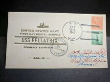USS BELLATRIX AK-20 Naval Cover 1942 HUTNICK FDPS WWII Cachet