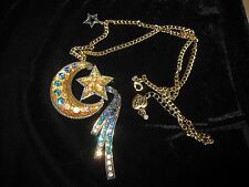 BETSEY JOHNSON HEAVENS TO BETSEY RARE MOON AND STARS LONG NECKLACE