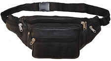 Leather Waist Bottle Fanny Pack Belt Pouch Travel Hip Purse Men and Women Black