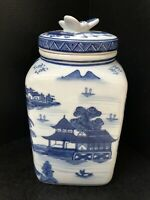 Blue and White Square Chinese Porcelain Ginger Jar Landscaping Motif