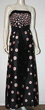 KAY UNGER Black Silk Evening Dress Nude Pink Polka Dots 8 Evening