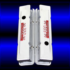 Valve Covers for Small Block Chevy 350 with 350 HP Emblems SBC Chrome