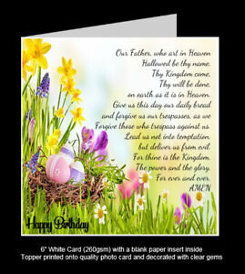 'The Lord's Prayer' Religious Birthday Card, Thanks, Get Well Soon, Miss You etc