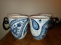 "4 Coffee Mugs, 10 Strawberry Street, ""Blue Azure Collection"" 10 oz. Blue & White"