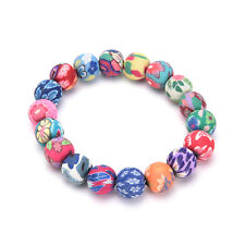 Chic Women Handmade National Colorful Polymer Clay Beads Bracelets Hand Chain 0h 10mm