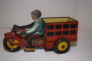 Vintage Marx Tin Speed Boy Delivery Motorcycle Cart Wind-Up Toy