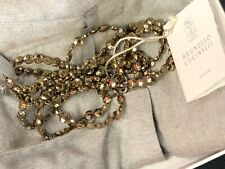 Brunello Cucinelli Sterling  bead gold wash necklace 64""