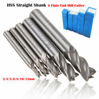 3-12mm HSS CNC Straight End Mill 4 Flute Milling End Cutter Drill Bit Tool -UK