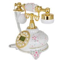 Flower Retro Push Button Vintage Antique Telephone Dial Desk Phone White