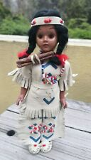 VTG NATIVE AMERICAN INDIAN DOLL ORANGE SLEEPY EYES BEADED LEATHER & FIREWOOD