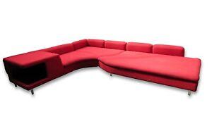 Pillar Box Red Chenille Curved Chaise Longue with Chrome Bar Feet