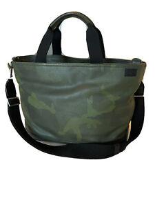 Jack Spade Men's Green Camo Leather Tote Bag