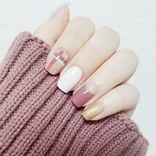 24pcs Glitter Gold White Pink Cross Short Full Cover False Nail For Club Office