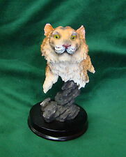 Beautiful Small Tiger Edgy Figurine with Glossy Round Wood Base, Collectible