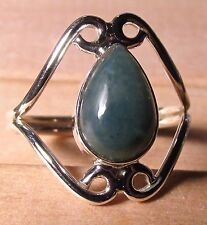 925 silver beautiful MOSS AGATE ring UK R½-¾/US 9