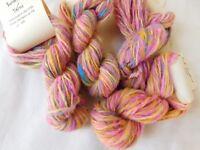 Weave Pink Tweed Hand Spun Wstd Wt Alpaca Wool Yarn: Knit Crochet Doll Hair