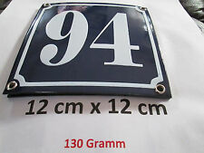 Hausnummer  Emaille Nr. 94  weisse Zahl auf blauem Hintergrund 12 cm x 12 cm