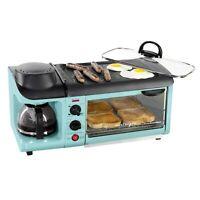 NOSTALGIA 3-In-1 Retro Breakfast Station, Coffe Maker Griddle Toaster Oven, Aqua