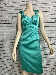 Karen Miller Stunning Green Satin Galaxy Wiggle Dress UK 10
