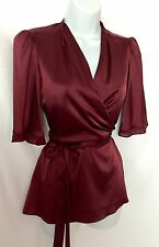 NWOT BCBG MAX AZRIA Silk Wine Burgundy Wrap Top Blouse Shirt XS Retail $168