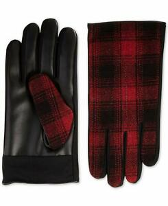 Isotoner Mens Faux-Leather Driving Gloves Touch Screen Smart Red Black Plaid, XL