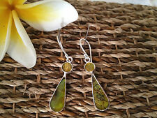 925 STERLING SILVER DROP EARRINGS - TIGER EYE ABALONE SHELL - DOT DROP DANGLES