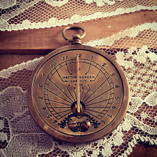 Sundial pocket watch pocketwatch pendant, antique brass, functional charm