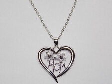 Gold Plated Heart pendant w. Chain Mother's Day Swarovseki Elements 14K White