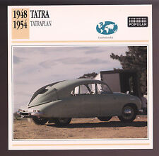 1948-1954 Tatra Tatraplan T107 T600 Czechoslovakia Car Photo Spec Sheet CARD