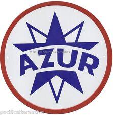 Plaque AZUR en METAL tole logo essence desmarais huile voiture car cadre NEUF