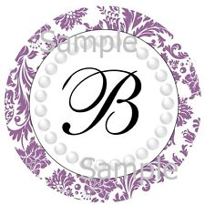 108 HERSHEY KISS ~ GLOSSY STICKER LABELS ~ PURPLE MONOGRAM & PEARLS #6